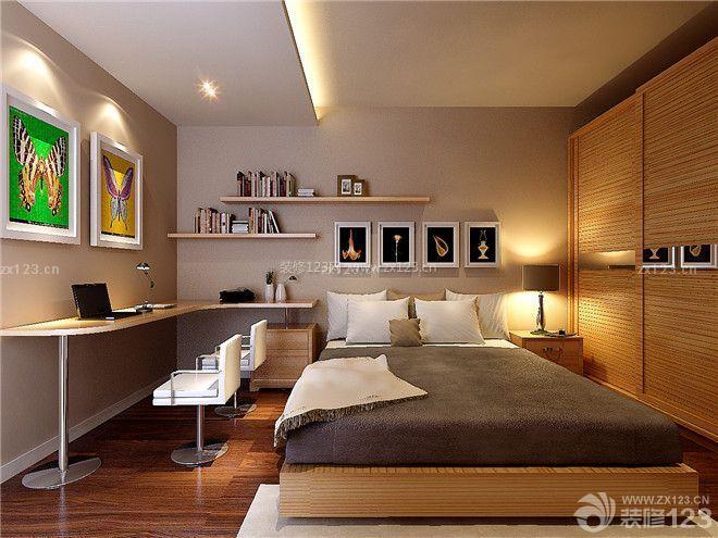 现代设计风格15平米卧室床头背景墙装修图