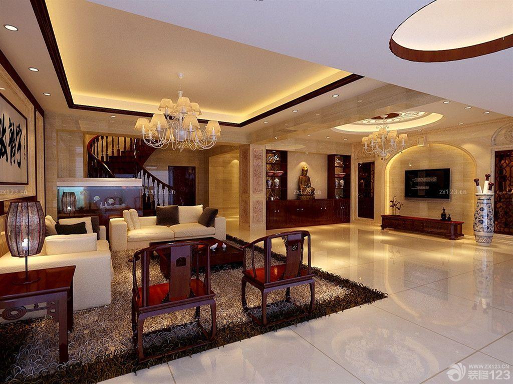 中式混搭风格楼中楼客厅天花板吊顶设计效果图