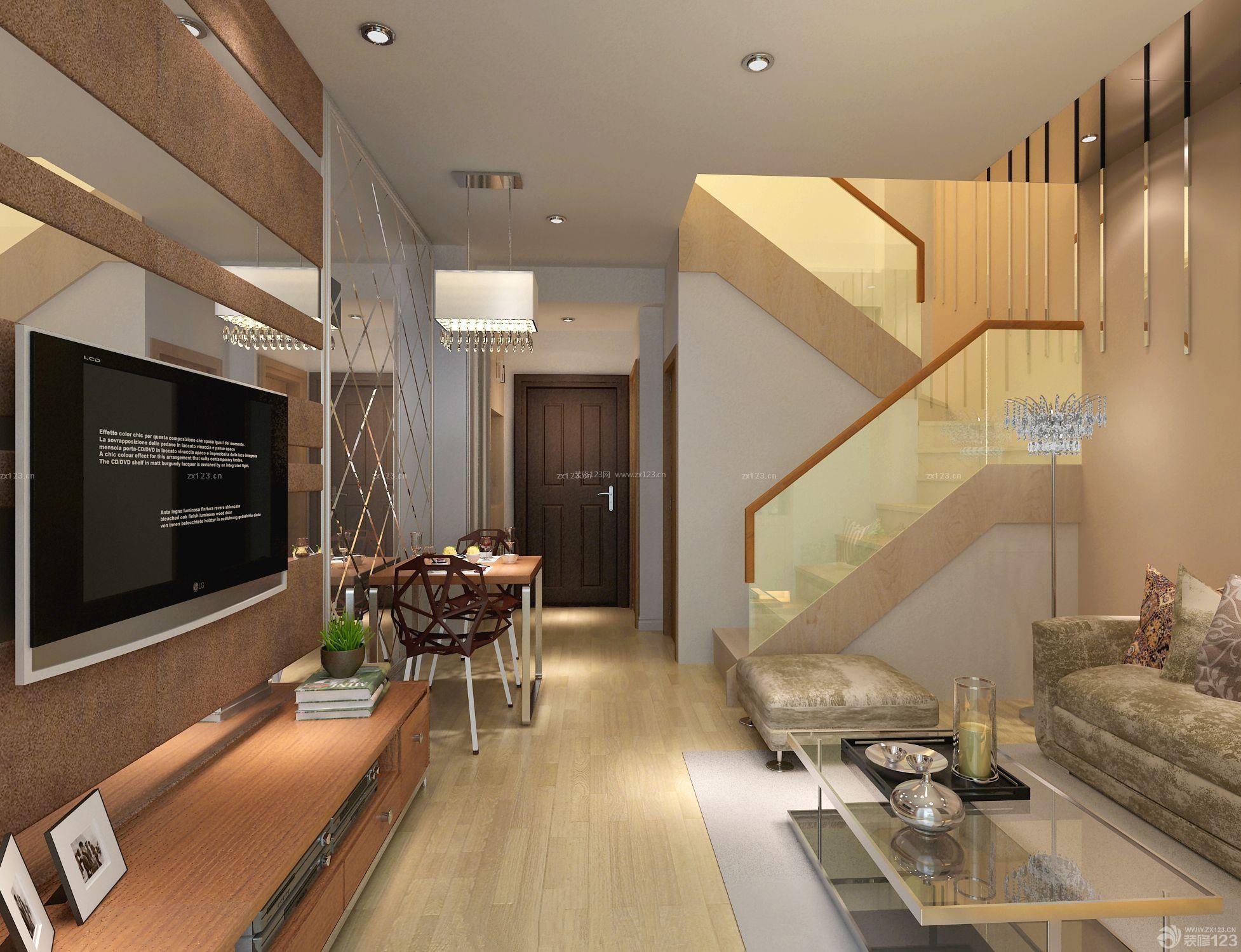 小户型楼中楼装修效果图 楼中楼楼梯 玻璃楼梯扶手