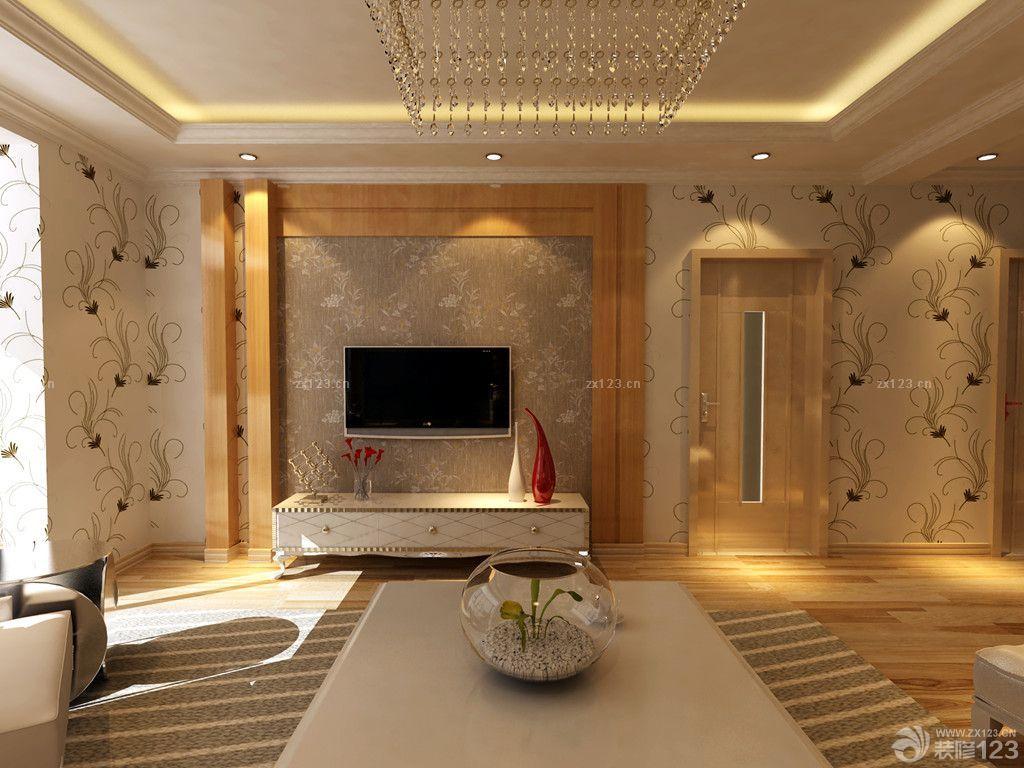 简欧时尚楼中楼客厅电视背景墙设计效果图图片