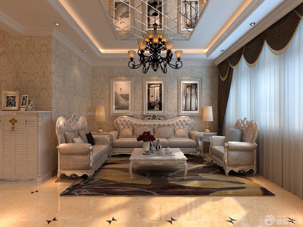 新古典风格楼中楼客厅玻璃天花板吊顶装修效果图