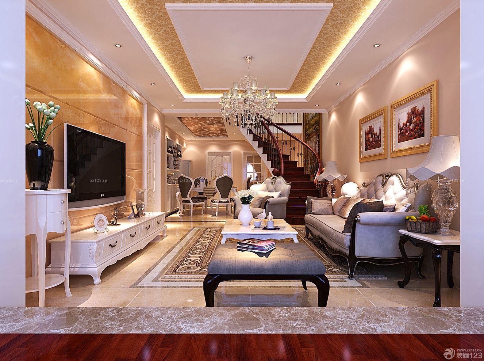 奢华欧式楼中楼客厅天花板贴墙纸吊顶效果图图片