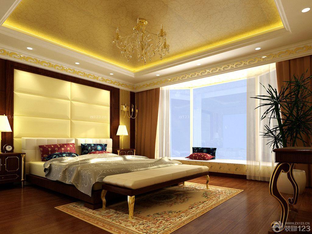 奢华欧式楼中楼卧室天花板贴墙纸装修效果图