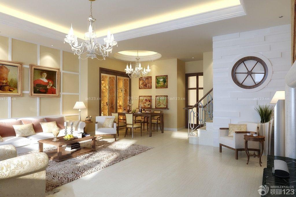 简欧风格125平方楼中楼客厅装修效果图大全图片