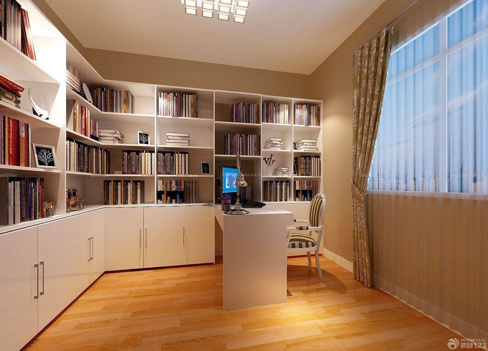 家装效果图 现代 现代简约转角书桌书柜效果图欣赏 提供者:   ←