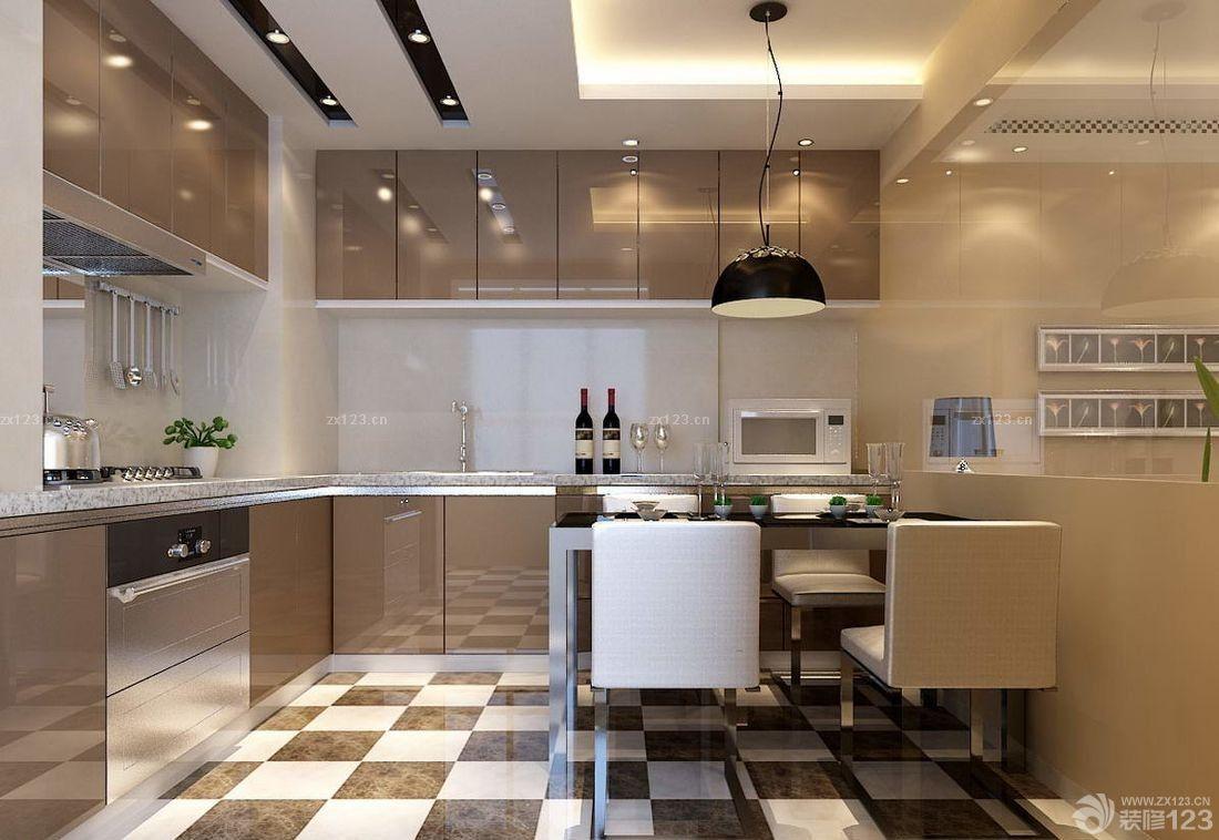 90平米房子现代风格厨房餐厅一体装饰效果图图片