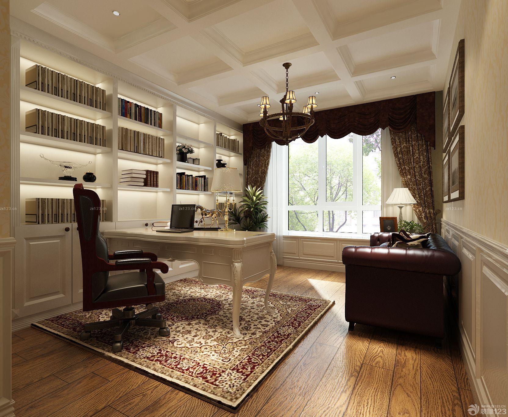 现代欧式混搭风格书桌书柜组合图片欣赏