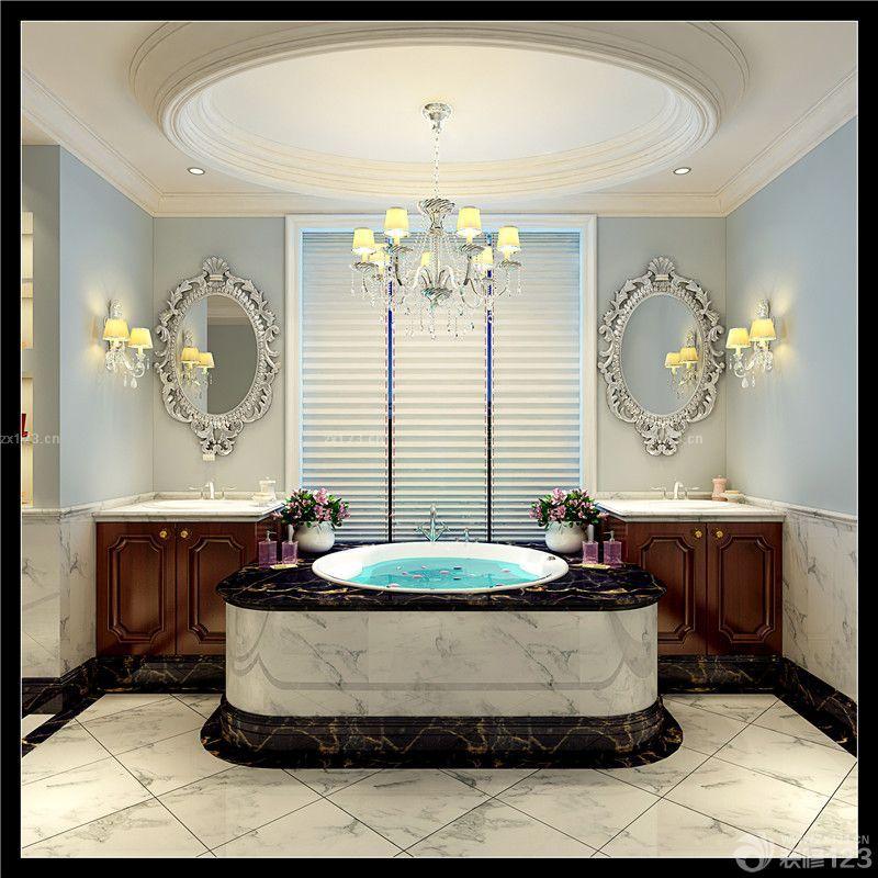卫生间淋浴房圆形浴缸效果图欣赏