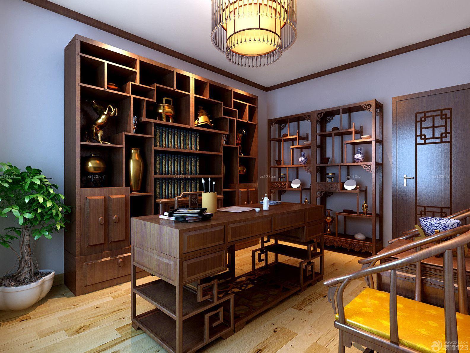 中式书柜书桌组合 顺德家具网