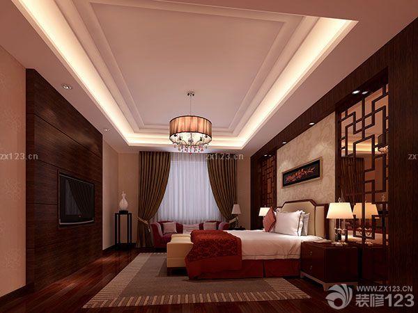 中式家居大卧室天花板吊顶装修图