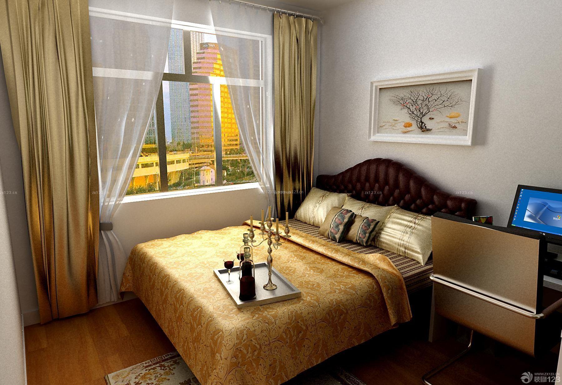 90平米三居室后现代风格小房间金色窗帘设计效果图