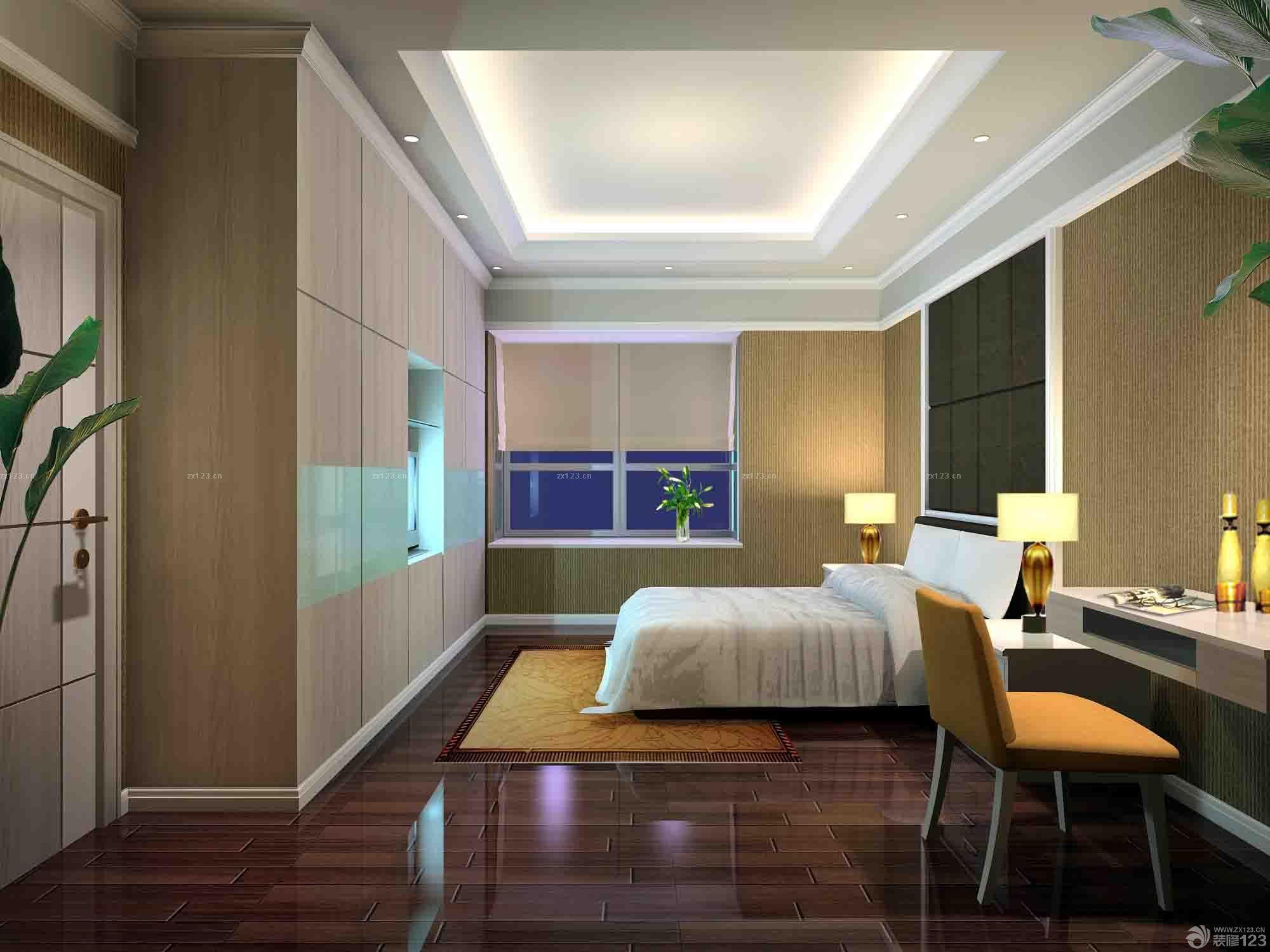 沉稳家装室内卧室仿木地板瓷砖设计图片