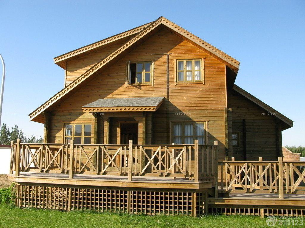 北美风格木屋别墅外观设计实景图