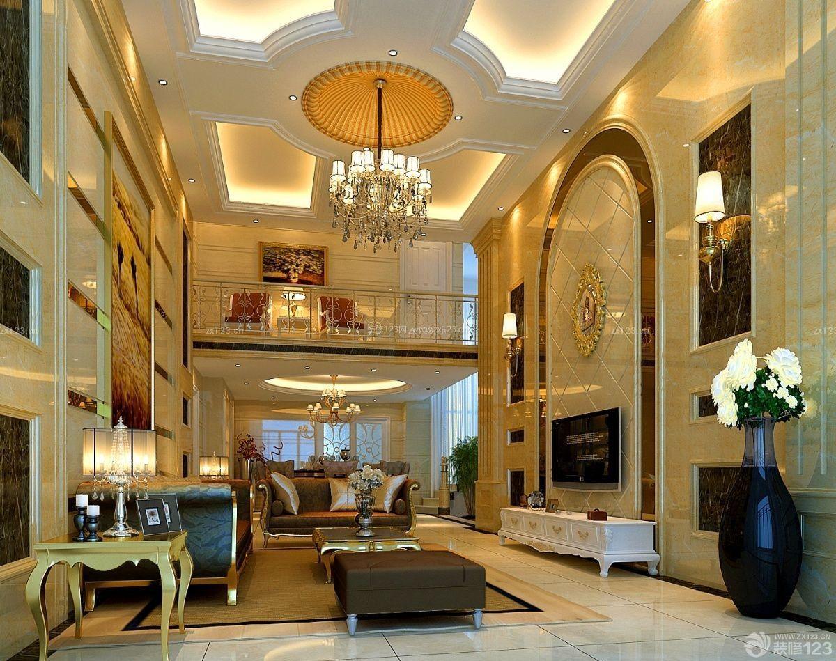 奢华欧式复式别墅客厅装修效果图设计图片