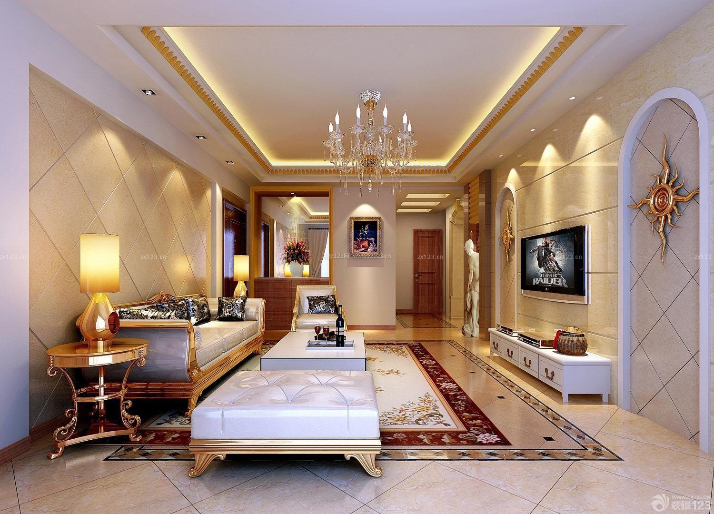 简欧风格室内客厅瓷砖电视背景墙设计图片