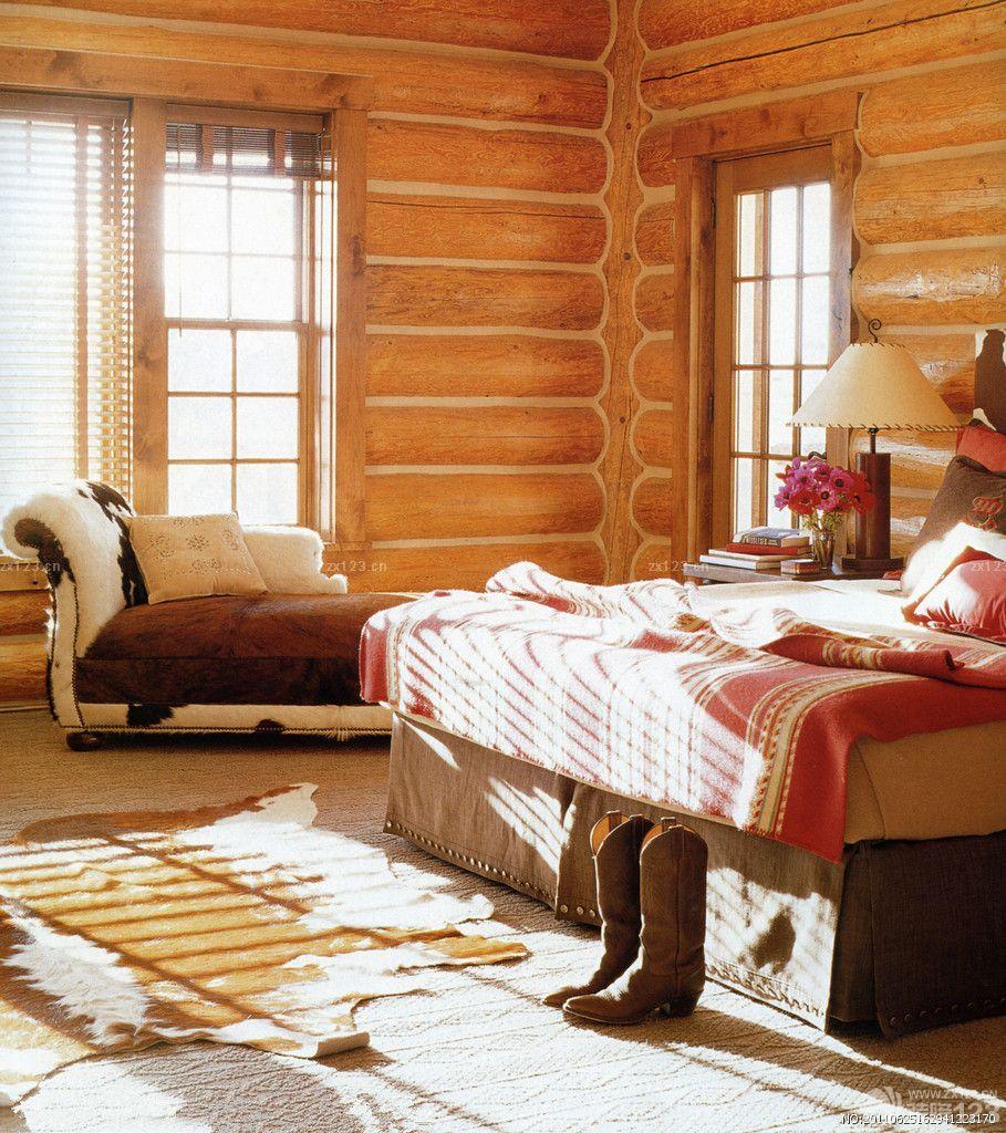 美式复古别墅小木屋室内卧室装修实景图_装修123效果图