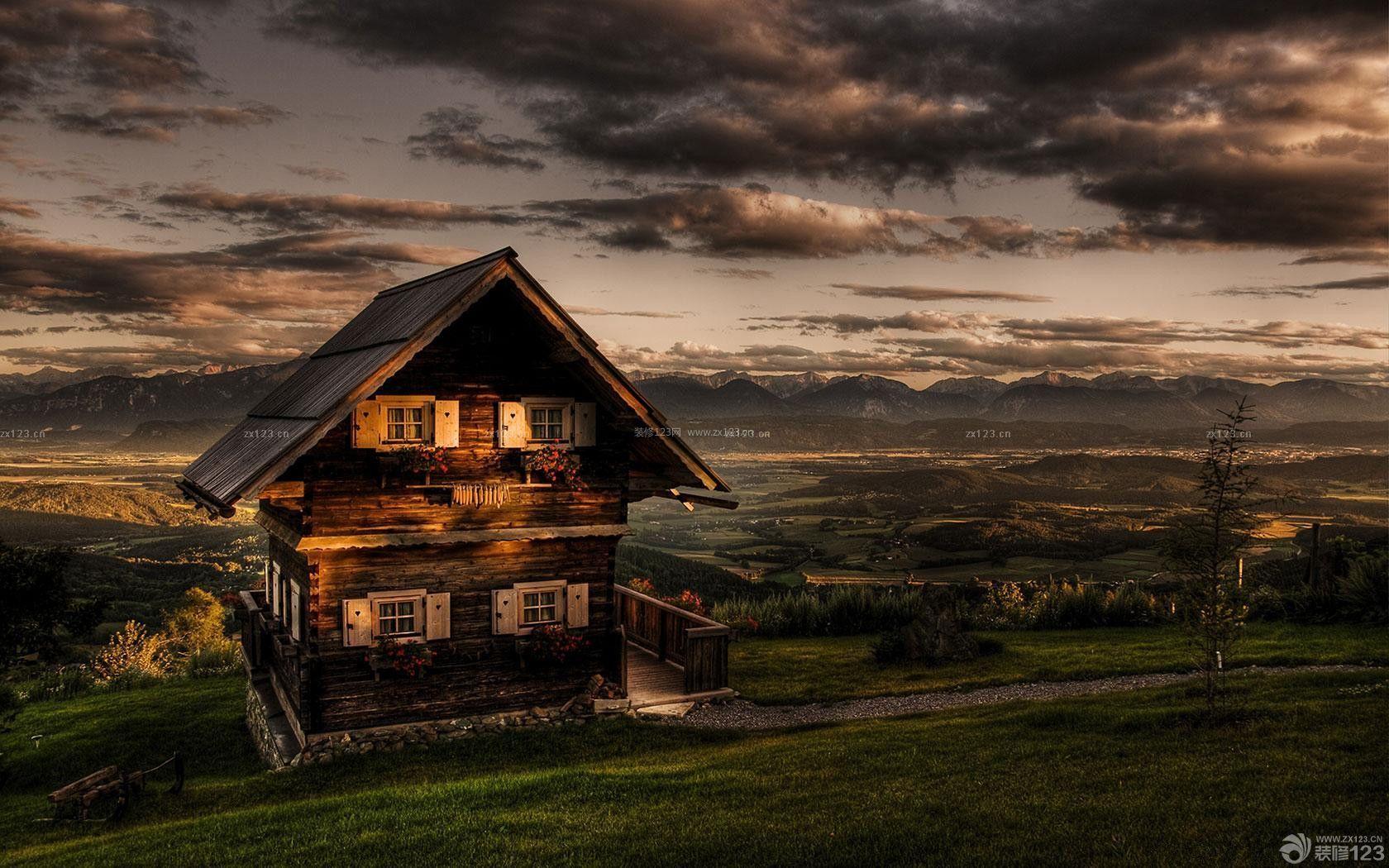复古美式别墅小木屋外观图片欣赏