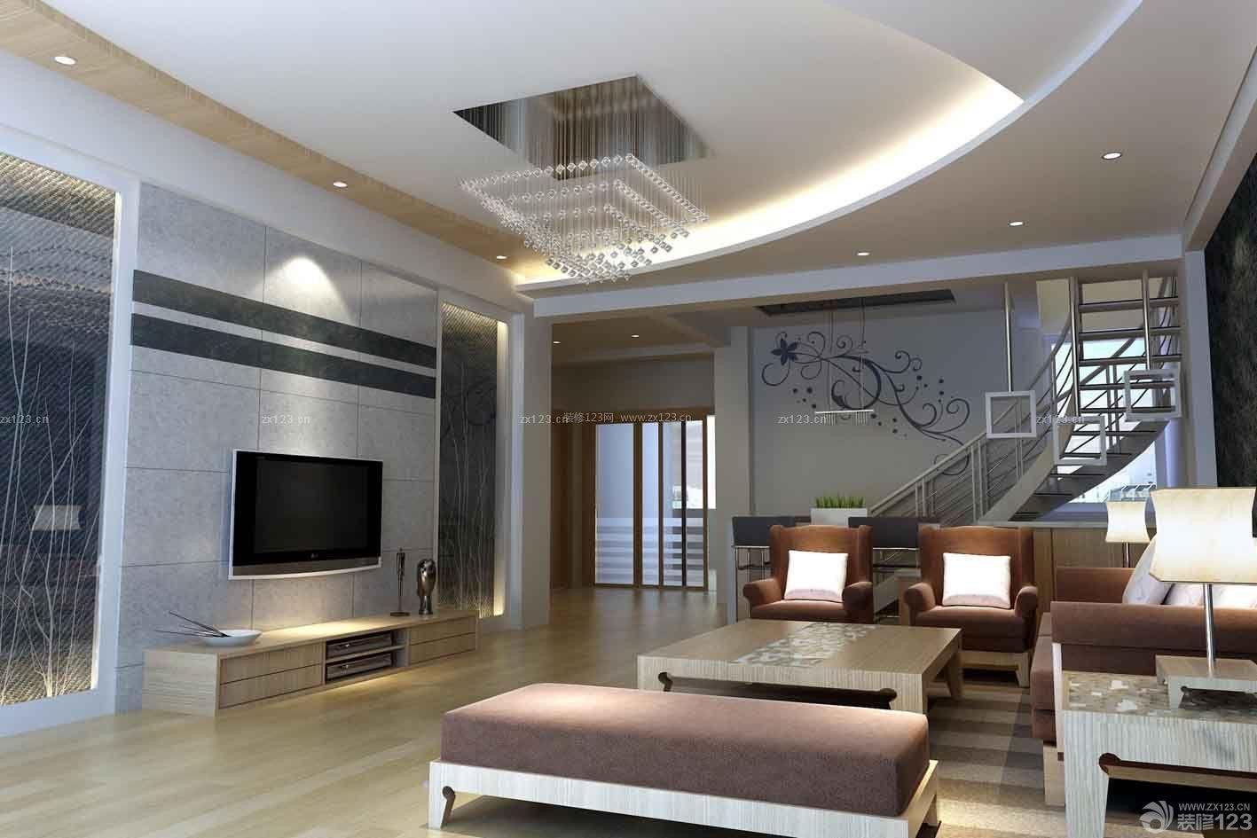 现代风格跃层客厅瓷砖电视背景墙装饰效果图
