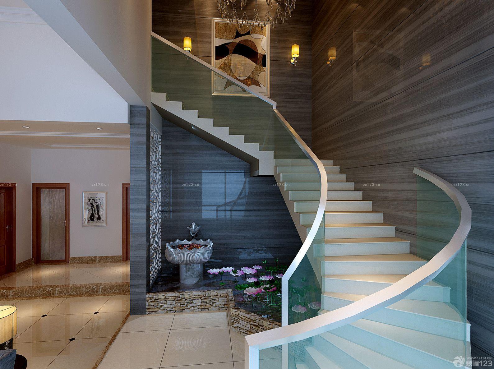 最新别墅玻璃楼梯扶手设计效果图