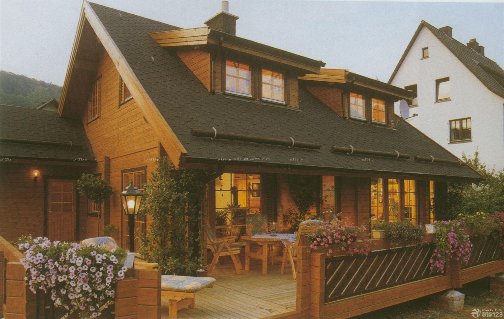 美式风格休闲木屋别墅外观图片