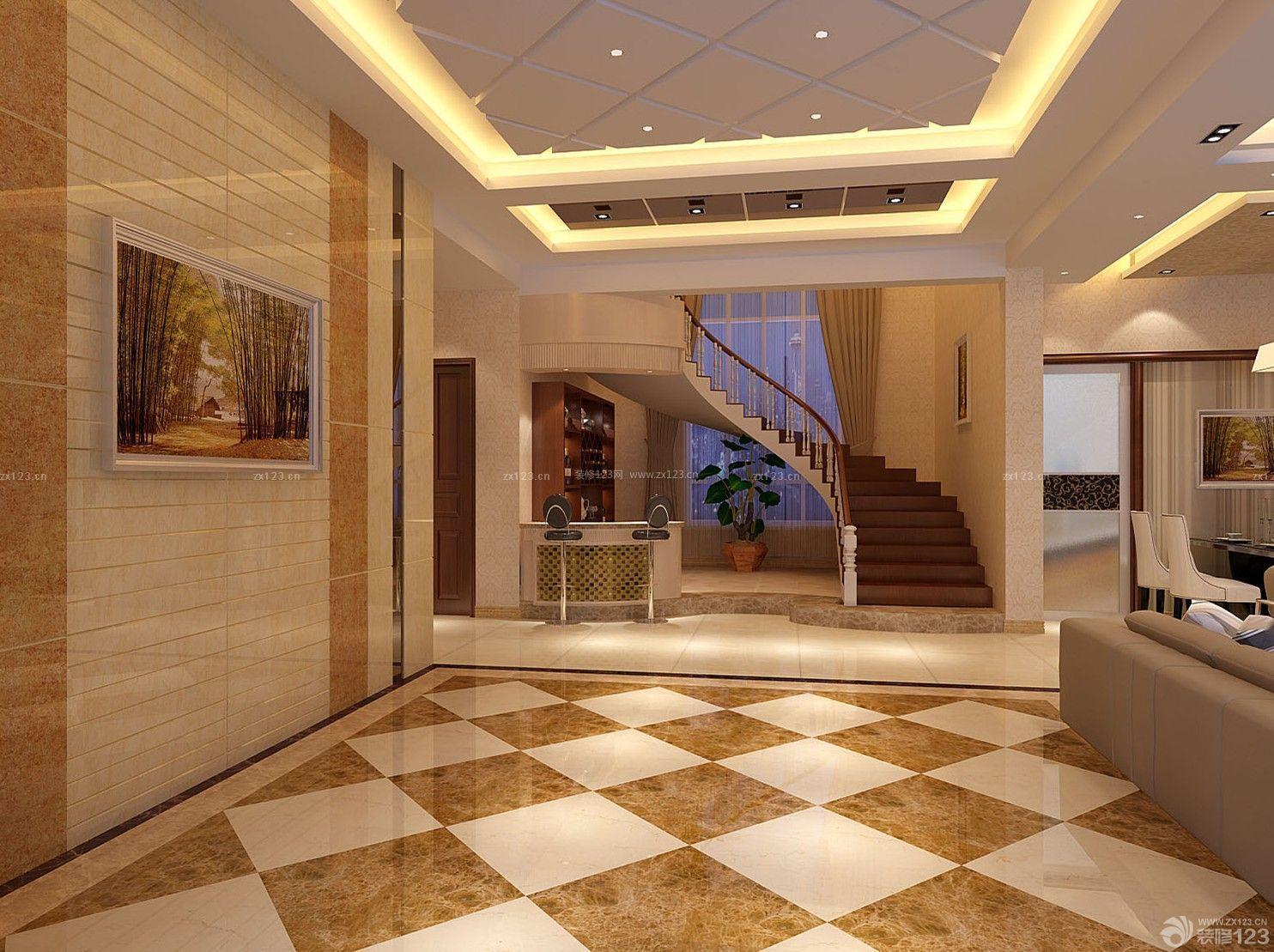 别墅新中式客厅装仹�b9��9f_新中式风格挑高客厅装修效果图