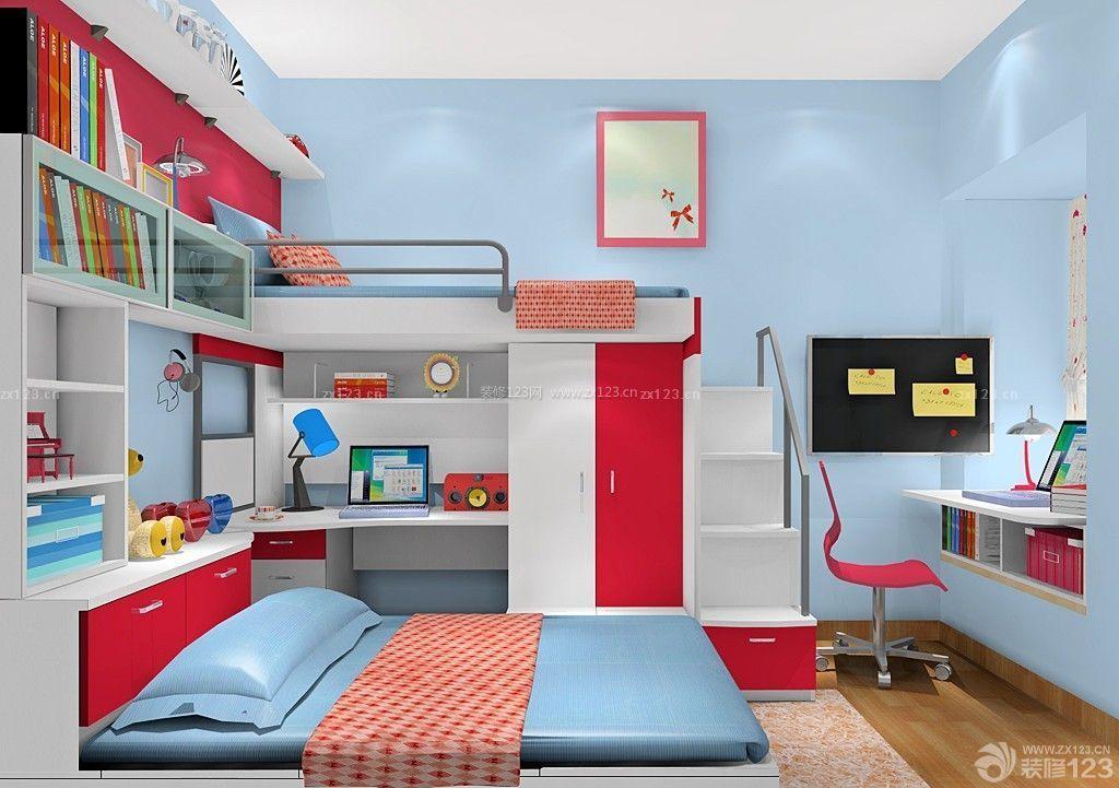 经典儿童小房间飘窗写字台设计效果图