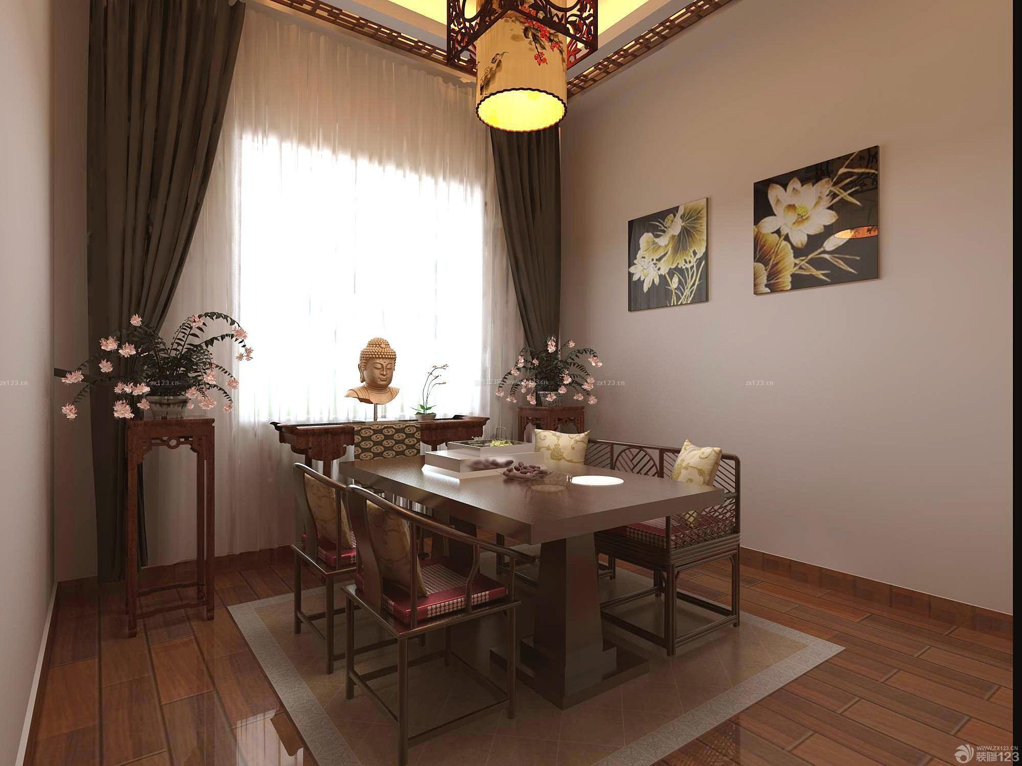 新中式风格仿木地板瓷砖装饰图片