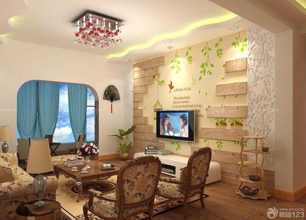 美式地中海混搭风格客厅电视背景墙绘设计效果图