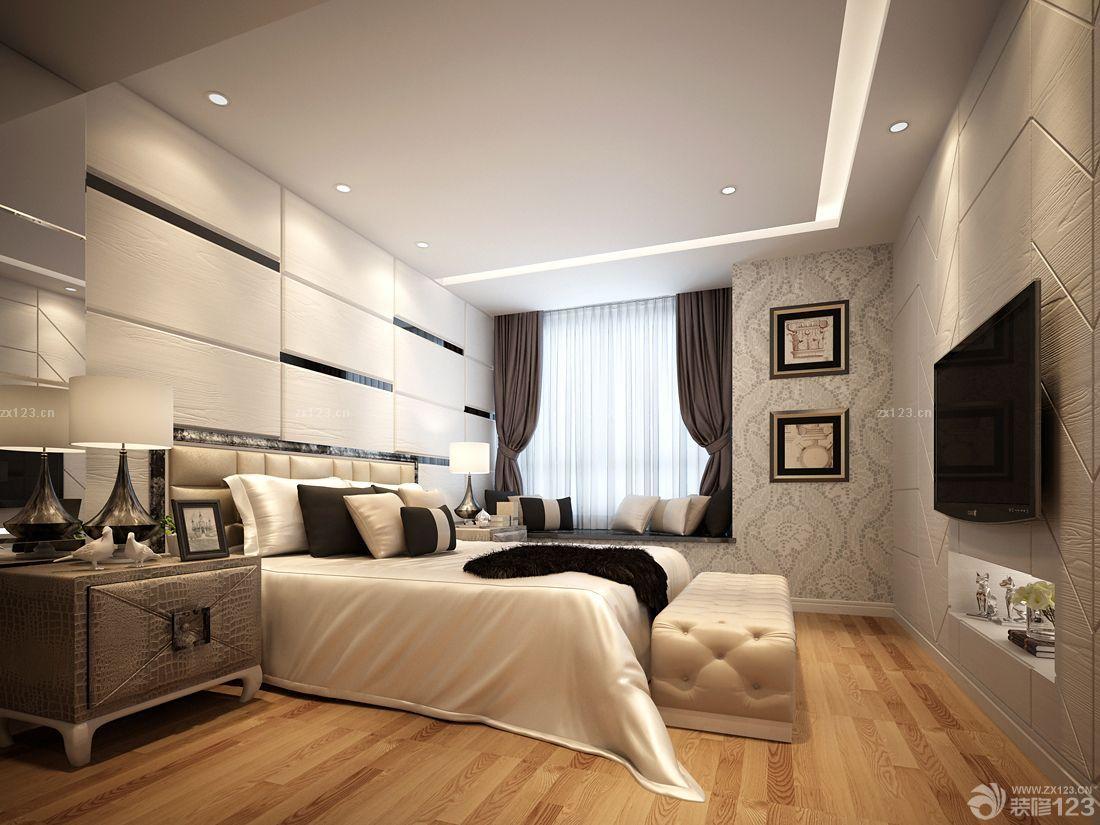 现代简约欧式风格大卧室软包背景墙设计图片图片
