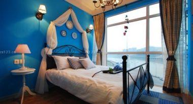 地中海风格设计卧室颜色搭配单人床装修图