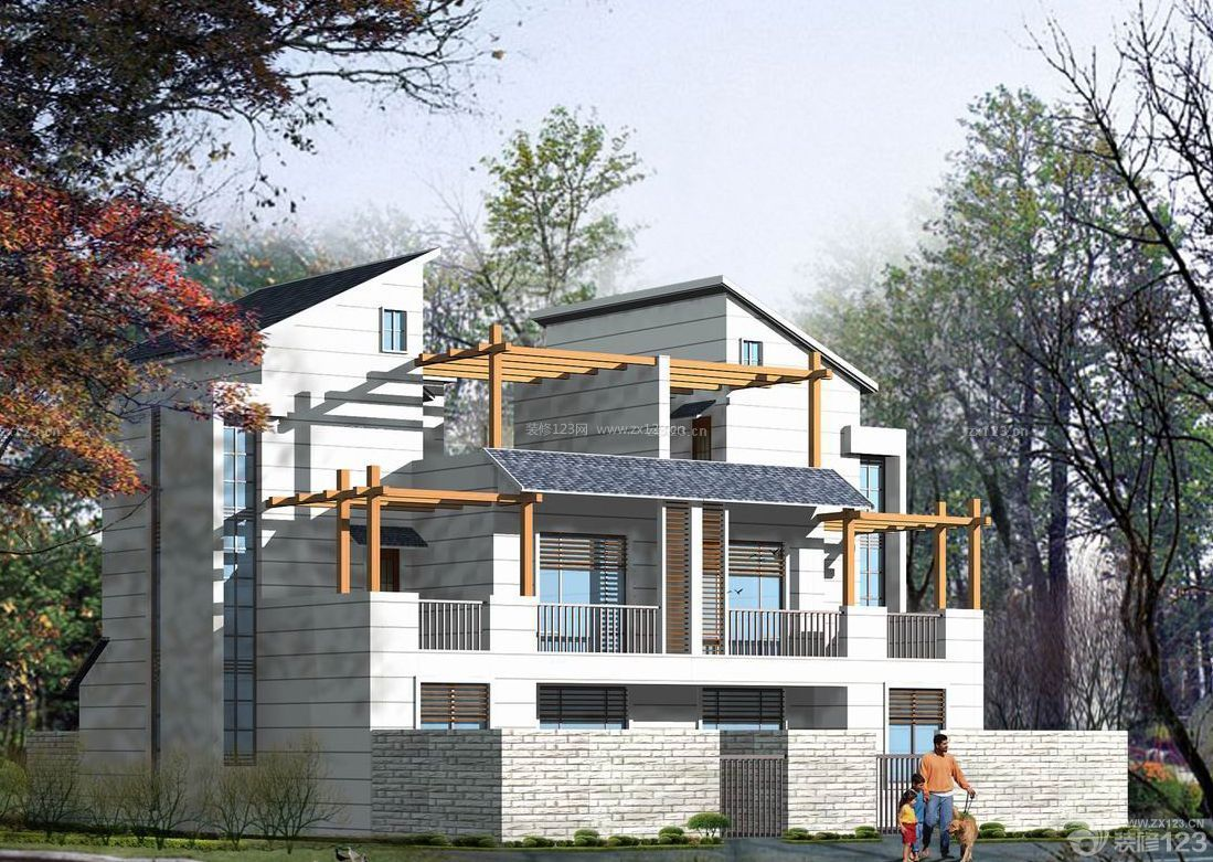 禅意经典农村自建房白色外墙瓷砖设计图片