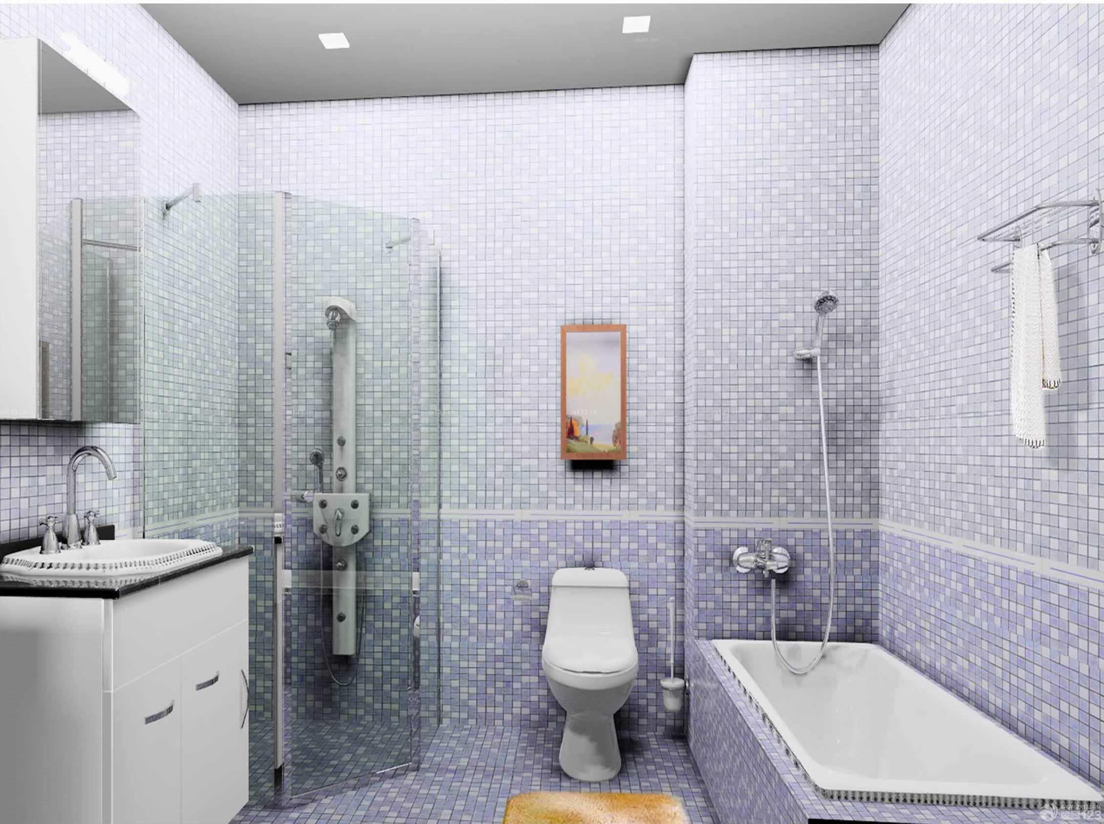 现代温馨卫生间浴室装修马赛克图片
