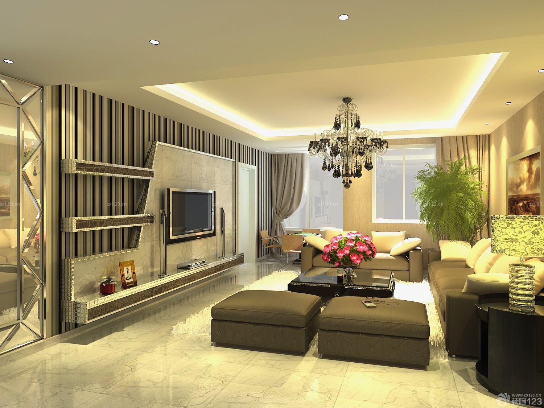 时尚现代风格客厅瓷砖电视背景墙装饰图片