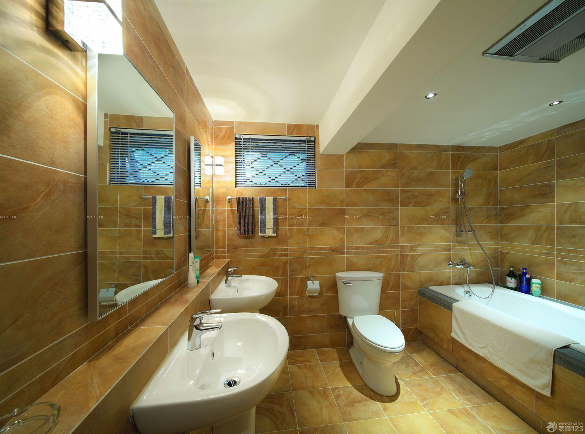 家庭卫生间浴室仿古砖装修实景图