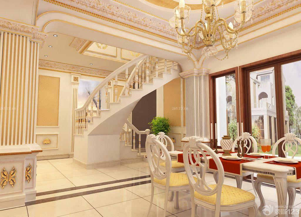 欧式风格别墅木楼梯扶手设计效果图