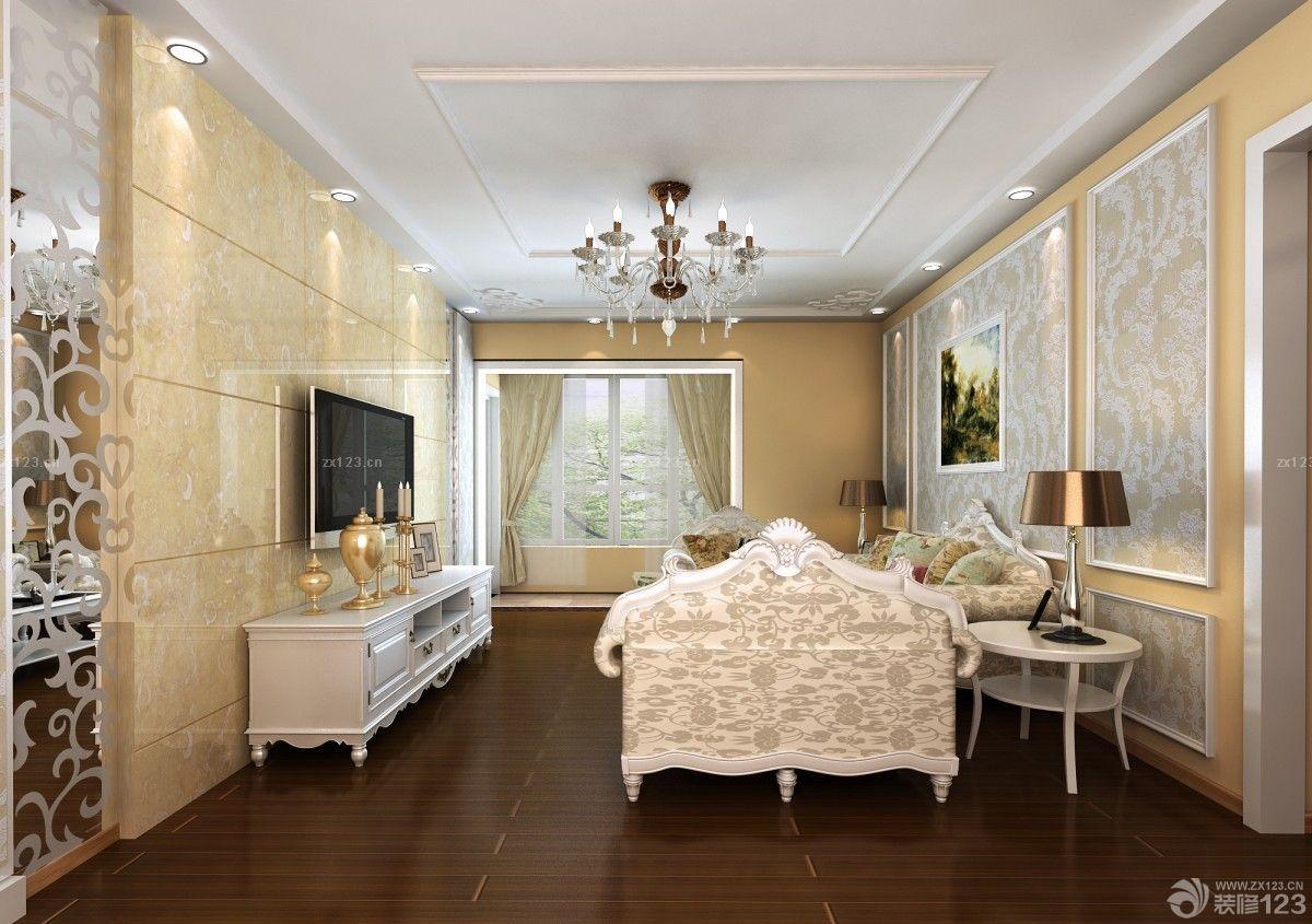 简欧风格客厅微晶石瓷砖电视背景墙装修图片