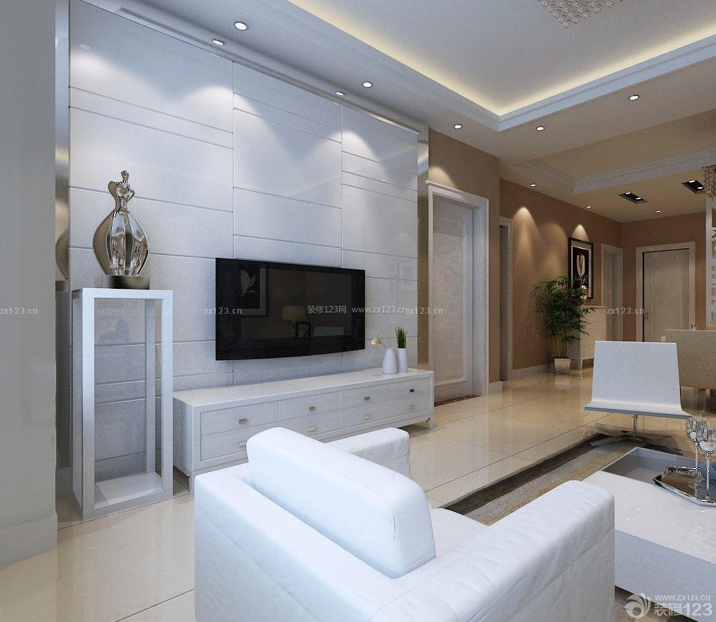 简洁客厅白色瓷砖电视背景墙装饰图