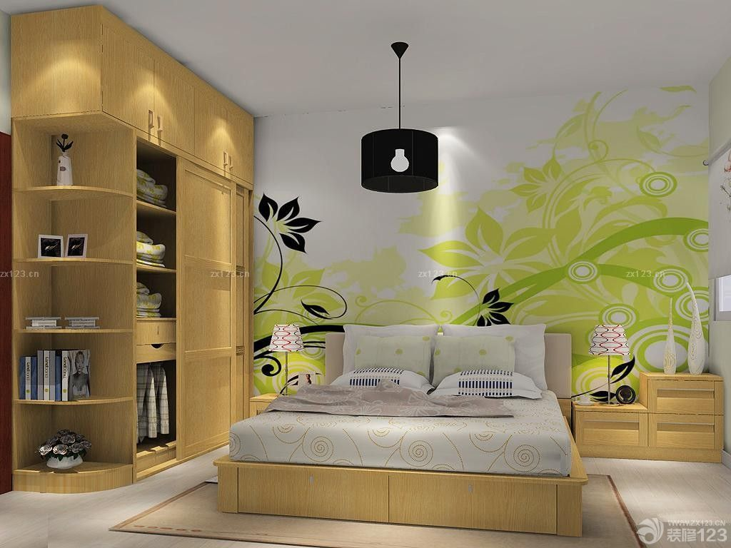 简约风格卧室床头创意墙绘设计效果图