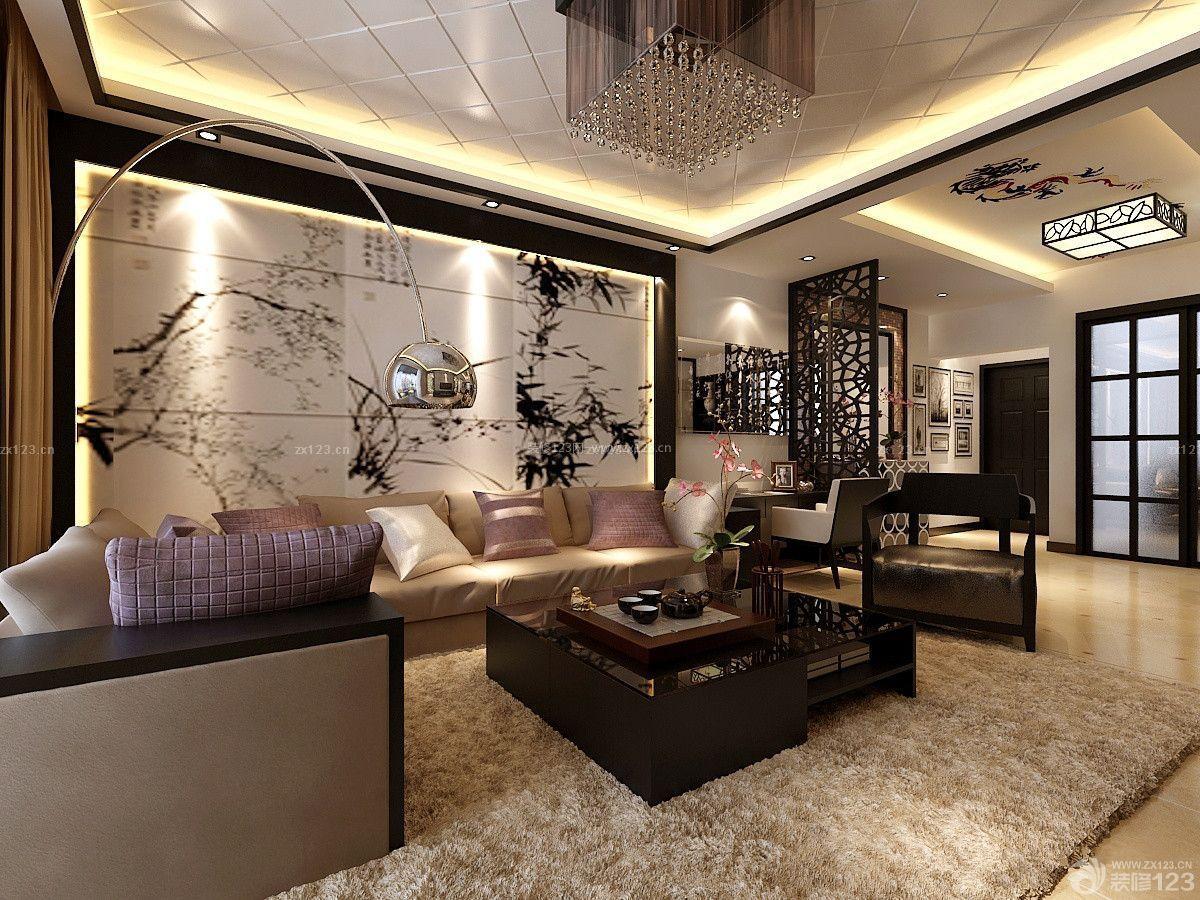 新中式风格客厅瓷砖拼花沙发背景墙设计