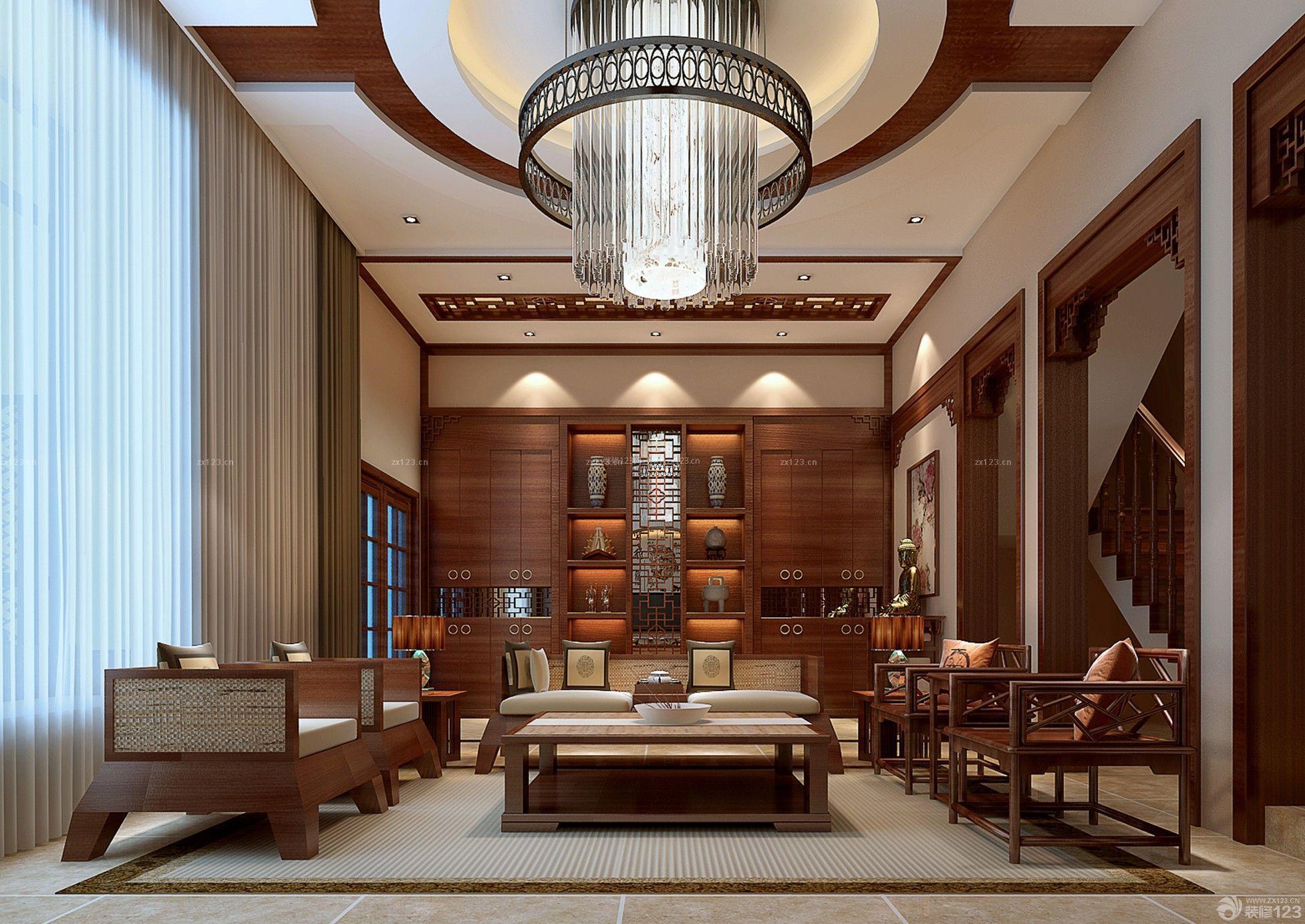 中式风格自建别墅室内挑高客厅装修效果图大全