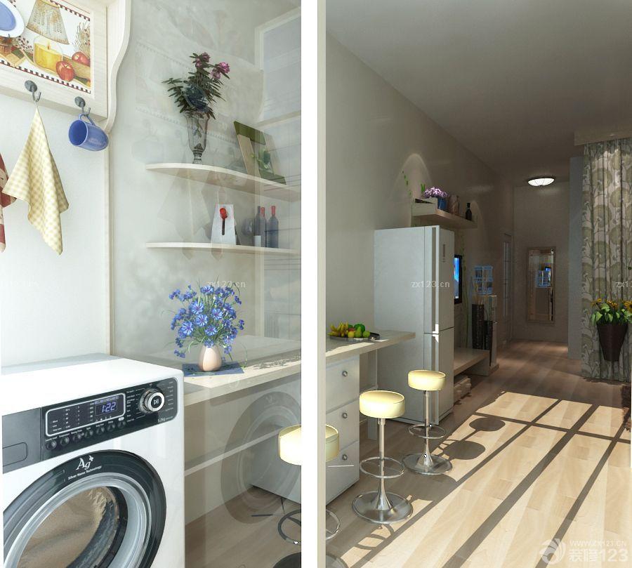 简约风格40平方单身公寓阳台洗衣机装修效果图