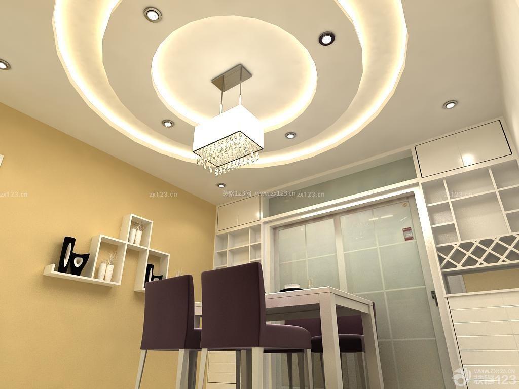 个性餐厅圆形吊顶水晶灯装修图