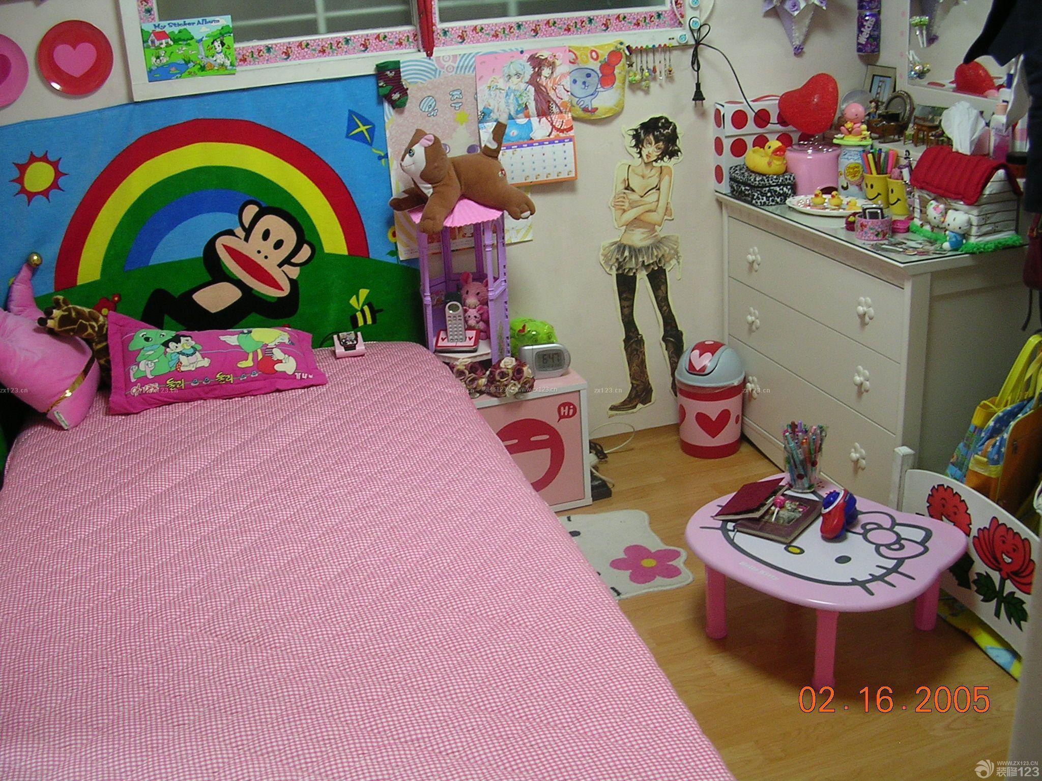 可爱女孩房间装修实景图片