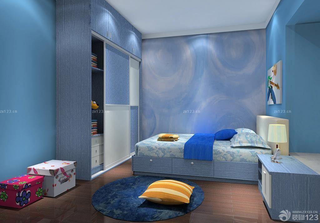 蓝色家居液体墙纸装饰图片