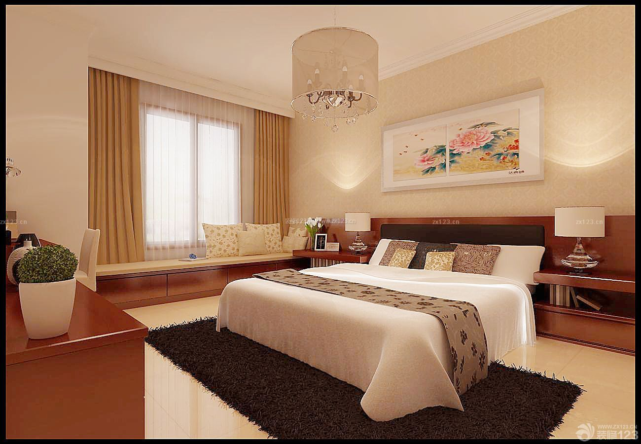 家庭中式三室两厅卧室装修风格双人床图