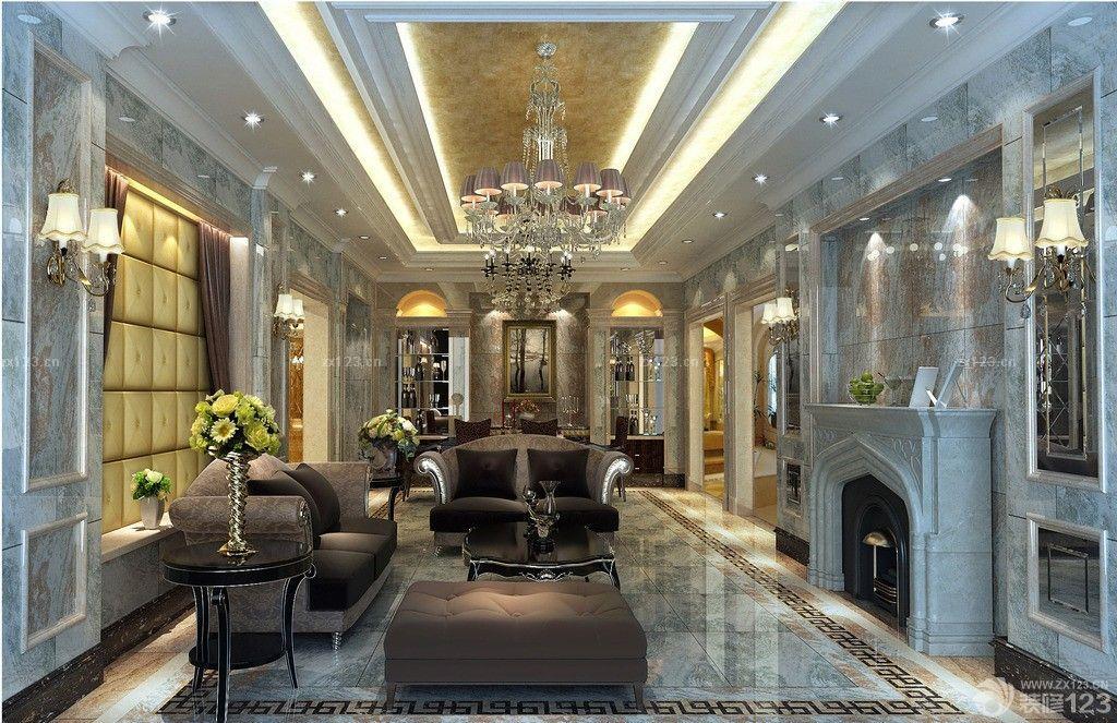 欧式风格室内客厅微晶石瓷砖背景墙设计图片图片