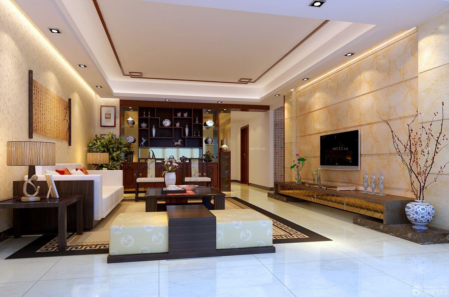 现代中式风格长方形客厅瓷砖电视背景墙效果图图片