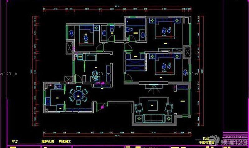 锦里小区134平米三居室平面图