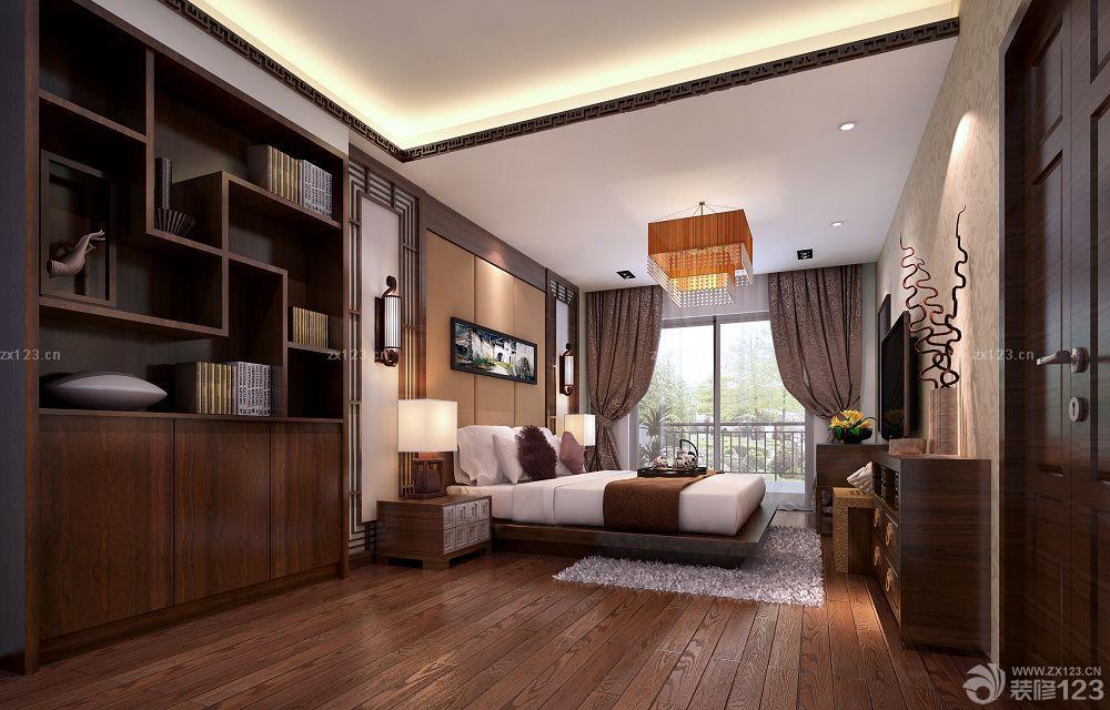 家庭中式卧室装修风格深褐色木地板图片
