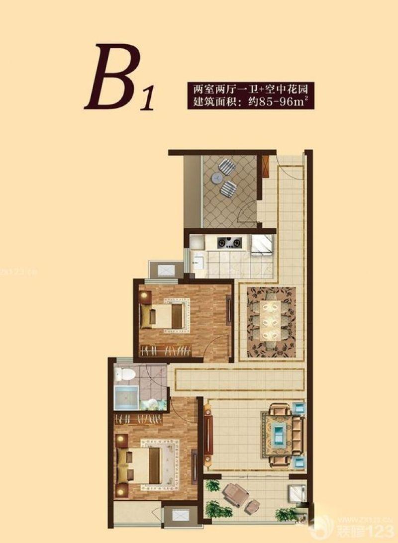 万达华府户型图2#b1户型两室两 面积:90.50m2